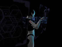 Cyborg gebruikend holografische computer Stock Afbeelding