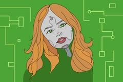 Cyborg girl illustration Royalty Free Stock Image