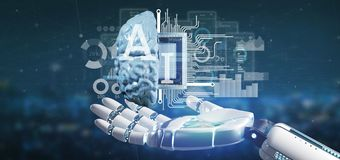 Cyborg hand holding artificial intelligence icon with half brain and half circuit 3d rendering stock photo