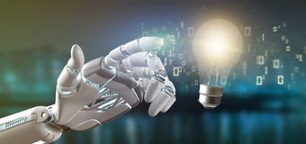 Cyborg hand holding a bulb lamp idea concept with data all around 3d rendering. View of a Cyborg hand holding a bulb lamp idea concept with data all around 3d royalty free stock image