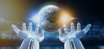 Cyborg hand holding a Earth globle particles 3d rendering vector illustration