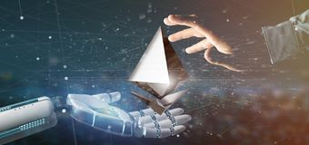 Cyborg hand holding a Ethereum crypto currency sign flying around a network connection - 3d rendering. View of a Cyborg hand holding a Ethereum crypto currency stock image