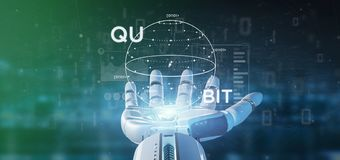 Cyborg hand holding Quantum computing concept with qubit icon 3d rendering. View of Cyborg hand holding Quantum computing concept with qubit icon 3d rendering stock photography