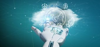 Cyborg hand holding a World globe surronding by ecology icons an. View of a Cyborg hand holding a World globe surronding by ecology icons and connection 3d royalty free stock photos