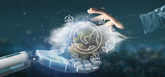 Cyborg hand holding a World globe surronding by ecology icons an. View of a Cyborg hand holding a World globe surronding by ecology icons and connection 3d royalty free stock photo
