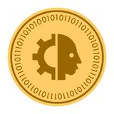 Cyborg Head golden digital coin vector icon. a gold yellow flat coin. cryptocurrency symbol isolated on white. Flat. Design. Eps 10 Stock Photography