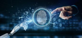 Cyborg holding a Digital fingerprint identification and binary code 3d rendering. View of a Cyborg holding a Digital fingerprint identification and binary code royalty free stock image