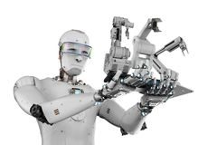 Cyborg holding three robot arms. 3d rendering cyborg holding three robot arms Royalty Free Stock Images