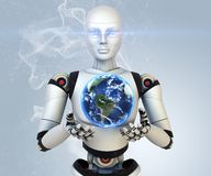 Cyborg holdings the Earth Stock Images