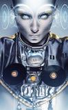 Cyborg kobieta i błyszczący geometryczny holograma pokaz zdjęcie stock