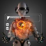 Cyborg kobiety manipulatihg holograma pokaz ilustracji
