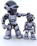 Cyborg lindo de la robusteza con el niño