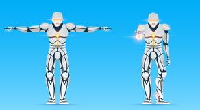 Cyborg is a man with artificial intelligence, AI. Humanoid Robot character shows gestures. Stylish android male. Futuristic vector illustration in cartoon vector illustration