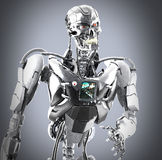 Cyborg man. And gray background Royalty Free Stock Photography