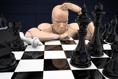 Cyborg man playing chess. 3d rendering illustration Royalty Free Stock Image