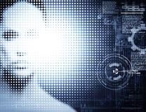 Cyborg manufacturing. Female techno portrait Stock Image
