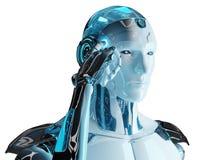 Cyborg masculin blanc pensant et touchant son rendu de la tête 3D illustration stock