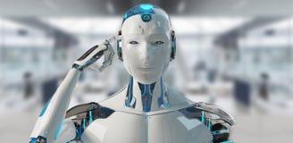 Cyborg masculino blanco que piensa y que toca su representación de la cabeza 3D stock de ilustración