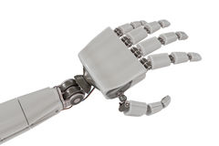 Cyborg metallic hand isolated on white background. 3D rendered illustration Stock Image