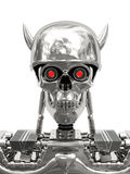 Cyborg metallico in casco con i corni immagine stock libera da diritti