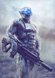 Cyborg. Military cyborg stands in the rain Stock Images