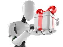 Cyborg mit Geschenk stockfotos
