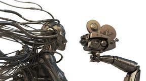 Cyborg mit Seilzügen vom Kopf gibt Interview Stockfoto