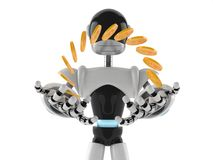 Cyborg with money Royalty Free Stock Photo