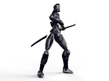 Cyborg ninja / Robot warrior get a sword out Clean background Royalty Free Stock Photography