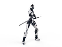 Cyborg ninja / Robot warrior gets a sword out Clean background Royalty Free Stock Photo