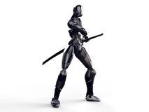 Cyborg ninja/Roboterkrieger erhalten einen sauberen Hintergrund der Klinge heraus Lizenzfreie Stockfotografie