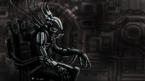Cyborg proef zit in kostuum op ijzertroon royalty-vrije illustratie