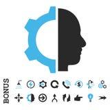 Cyborg przekładni glifu Płaska ikona Z premią zdjęcia stock