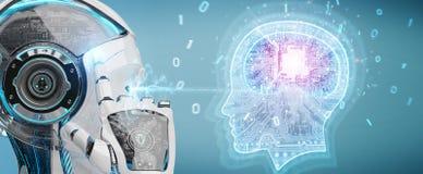 Cyborg que crea la representaci?n de la inteligencia artificial 3D ilustración del vector
