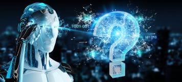 Cyborg que soluciona problema con la representación digital de los signos de interrogación 3D stock de ilustración