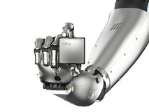 Cyborg que sostiene el microprocesador de la CPU Imagen de archivo libre de regalías