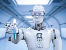 Cyborg que sostiene el tubo de ensayo foto de archivo libre de regalías