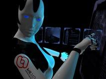 Cyborg que usa o computador holográfico ilustração stock