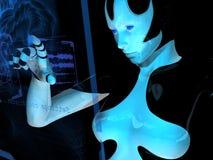 Cyborg que usa o computador holográfico ilustração do vetor