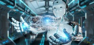 Cyborg que usa a proje??o 3D digital hologr?fica do wireframe de um motor ilustração do vetor