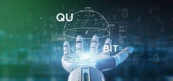 Cyborg ręka trzyma kwant oblicza pojęcie z qubit ikony 3d renderingiem fotografia stock