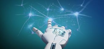 Cyborg ręka trzyma grupy neuronu 3d rendering Fotografia Stock
