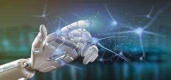 Cyborg ręka trzyma grupy neuronu 3d rendering Zdjęcie Royalty Free