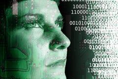 Cyborg reading. A cyborg reading a binary code Royalty Free Stock Photos