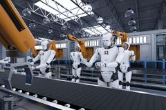Cyborg with robot arm. 3d rendering robot assembly line with robot arms and cyborgs Royalty Free Stock Images