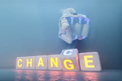 Cyborg robot hand changes text cube from change to chance - ai concept stock images
