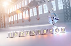 Cyborg robot hand shows industry 4.0 sign - ai concept stock photography