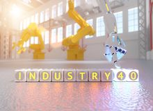 Cyborg robot hand shows industry 4.0 sign - ai concept royalty free stock images