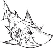 Cyborg Robot Shark Sketch Stock Images