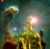 Cyborg in ruimte vector illustratie